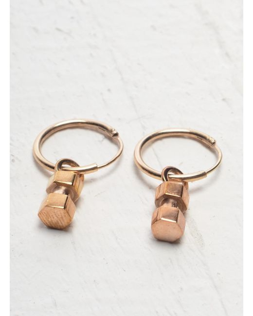 Lily Kamper | Pink Hexagon Mini Block Hoop Earring In Rose Gold | Lyst