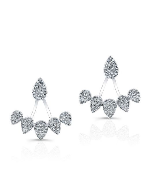 Anne Sisteron 14kt White Gold Diamond Tiara Floating Earrings Lyst