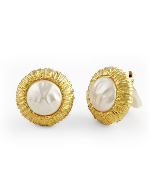 Kenneth Jay Lane | Metallic Pearl Button Earring | Lyst