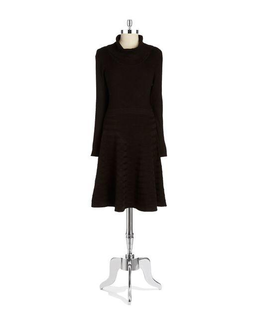 Calvin Klein | Black Textured Turtlneck Sweater Dress | Lyst