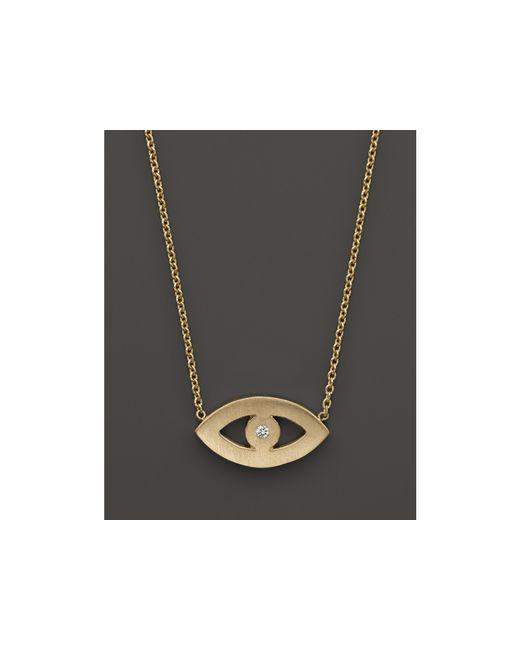 "Zoe Chicco | 14k Yellow Gold Evil Eye Diamond Necklace, 16"" | Lyst"
