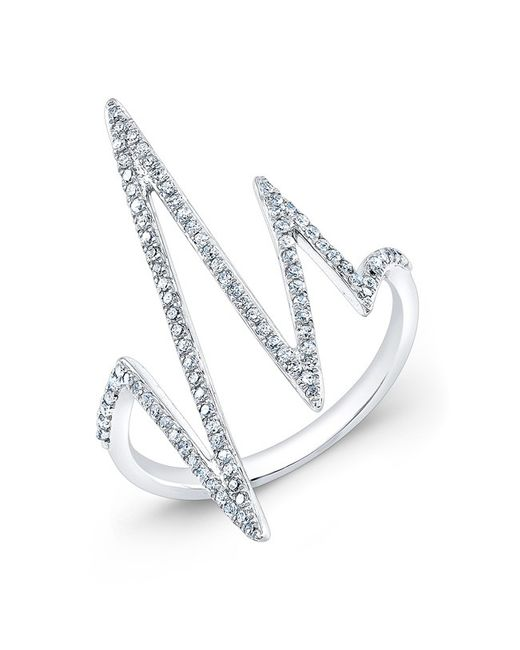 Anne Sisteron - Metallic 14kt White Gold Diamond Heartbeat Ring - Lyst