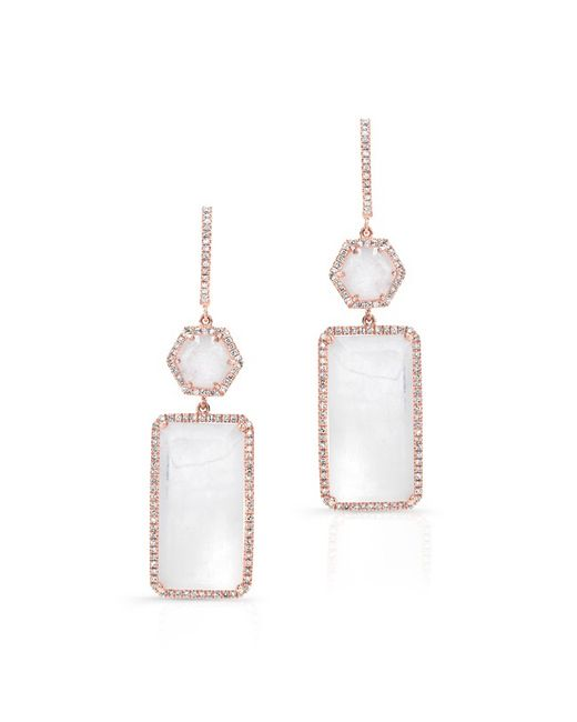Anne Sisteron | White 14kt Rose Gold Moonstone Diamond Geometric Earrings | Lyst