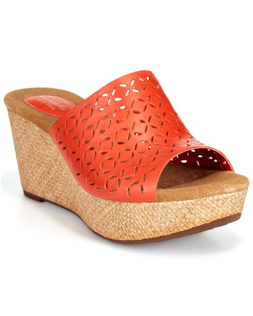 Clarks Artisan Women S Caslynn Dylan Wedge Sandals In Red