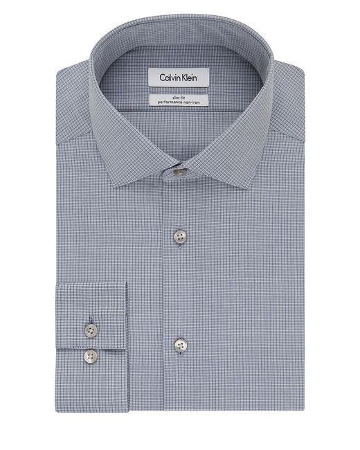 Calvin klein ck steel slim fit checked dress shirt in blue for Calvin klein athletic fit dress shirt