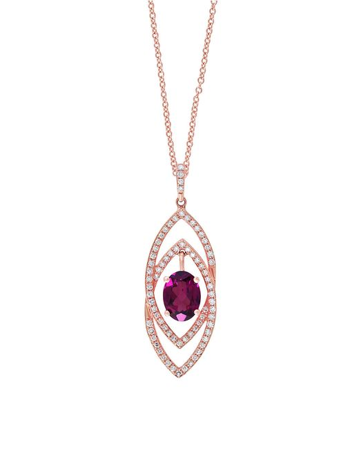 Effy | Pink Bordeaux Rhodolite, Diamond And 14k Rose Gold Pendant Necklace | Lyst