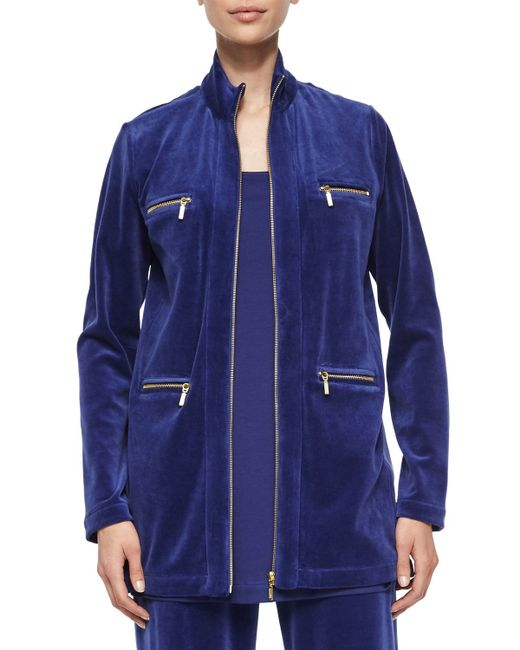 Joan Vass | Blue Velour 4-pocket Long Jacket | Lyst