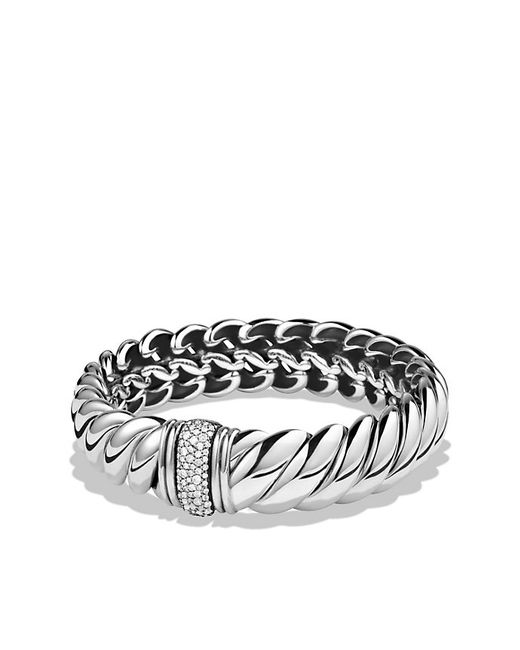 David Yurman | Metallic Hampton Bracelet With Diamonds | Lyst