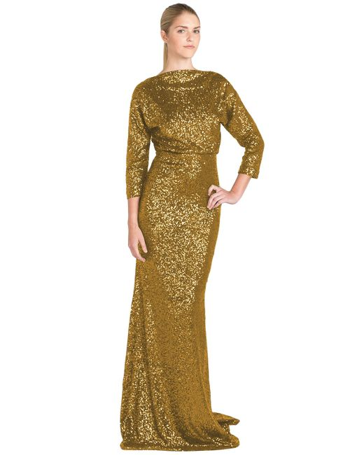 Badgley Mischka | Metallic Sequinned Blouson Gown | Lyst