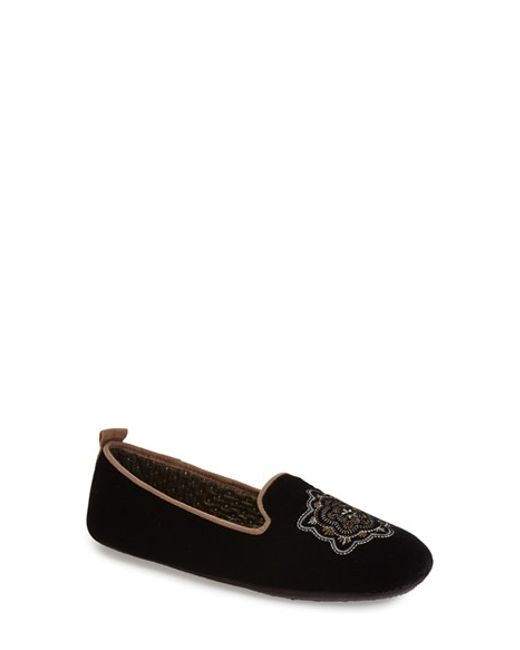 Acorn | Black Embroidered Velvet Slippers | Lyst