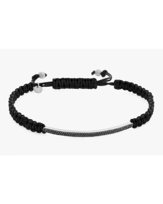 Tateossian | Micro Pavé Macramé Anklet With Black Diamonds On A Silver Panel for Men | Lyst