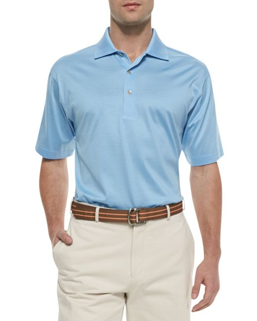 Peter millar cotton short sleeve polo in blue for men for Peter millar women s golf shirts