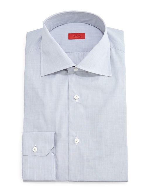Isaia solid button down dress shirt in gray for men light for Mens grey button down dress shirt