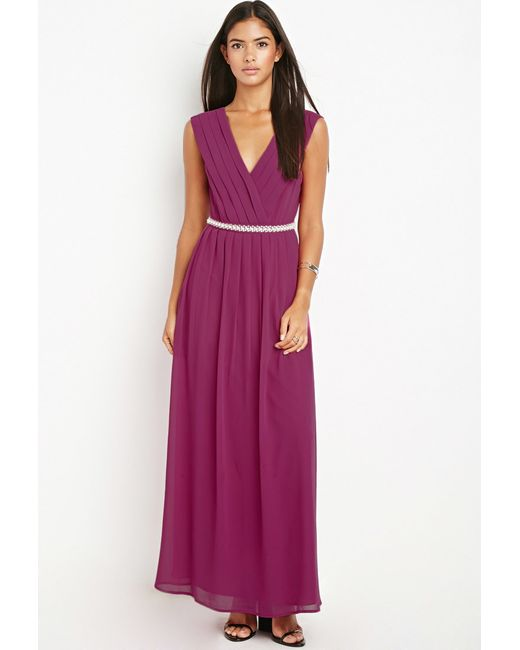 Forever 21 | Purple Bejeweled Waist Maxi Dress | Lyst