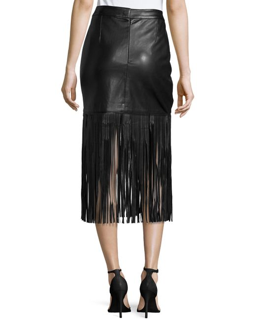 neiman faux leather fringe skirt in black