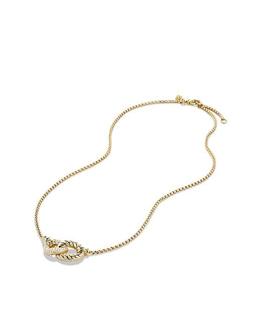 David Yurman | Metallic Belmont Double Curb Link Necklace With Diamonds In 18k Gold | Lyst