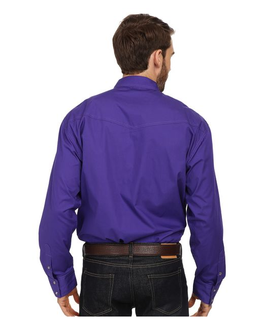 Roper l s solid basic snap front in purple for men lyst for Mens shirts with snaps instead of buttons