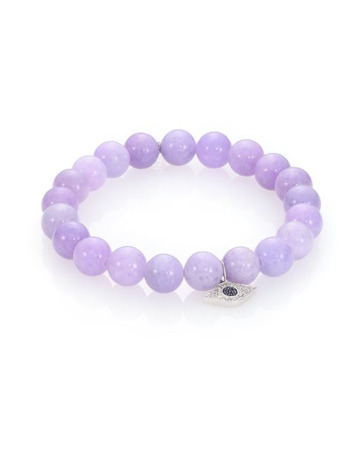 Sydney Evan | Purple Diamond, Lavender Jade & 14k White Gold Evil Eye Beaded Stretch Bracelet | Lyst