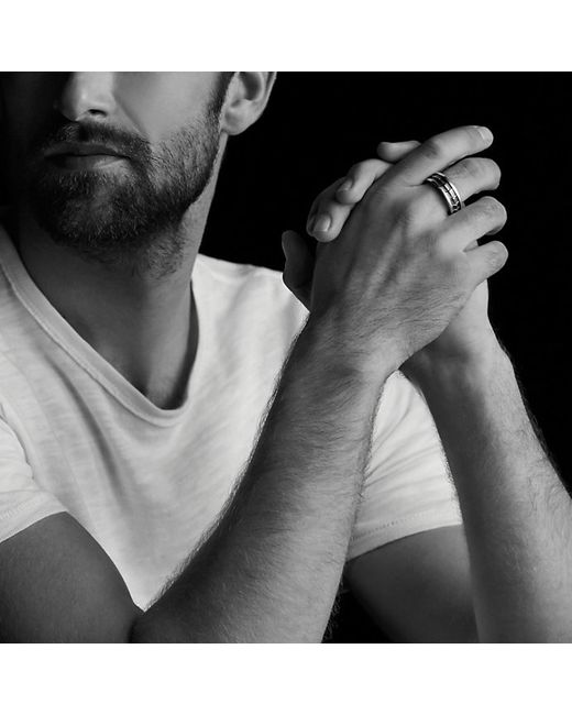 David Yurman | Armory Narrow Band Ring With Black Diamonds for Men | Lyst