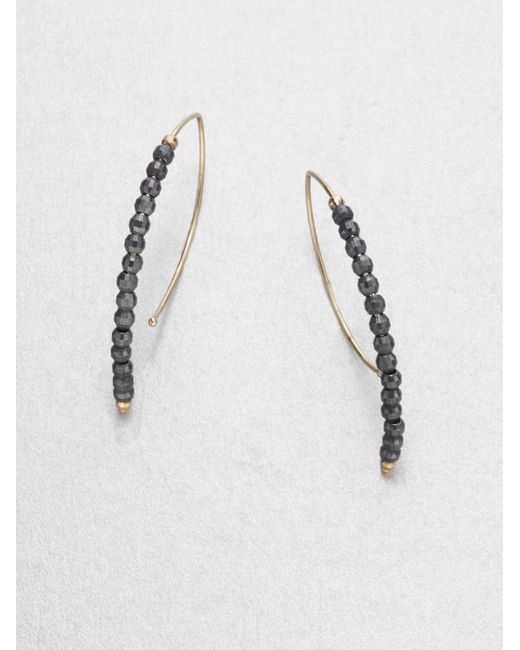 Mizuki | Black 14k Yellow Gold And Sterling Silver Marquise-shaped Earrings/1.25 | Lyst