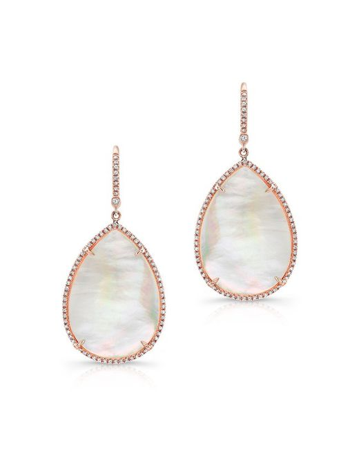 Anne Sisteron | Pink 14kt Rose Gold Mother Of Pearl Diamond Pear Earrings | Lyst