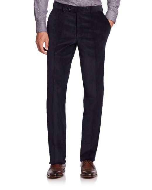 Saks Fifth Avenue | Blue Flat-front Corduroy Pants for Men | Lyst