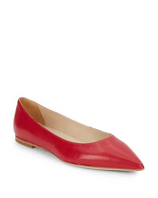 Halston | Red Leather Point-toe Flats | Lyst