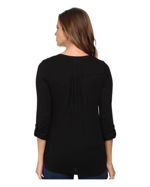 NYDJ | Black Pleat Back Knit Combo Top | Lyst