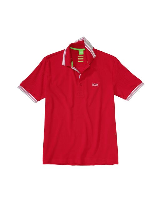 BOSS Green | Red 'paddy' | Modern Fit, Cotton Polo Shirt for Men | Lyst