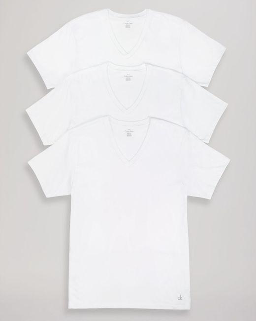 Calvin Klein   White Cotton Classics V-neck Tees, Pack Of 3 for Men   Lyst