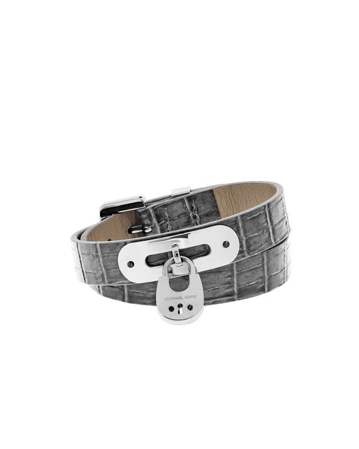 Michael Kors | Metallic Embossed-leather And Silver-tone Wrap Bracelet | Lyst