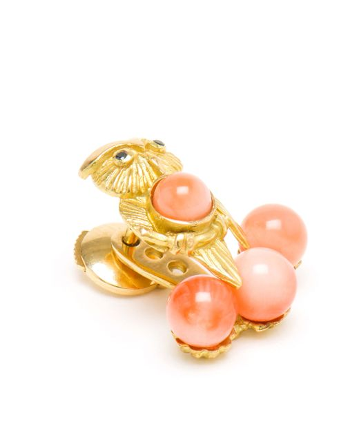 Yvonne Léon | Pink 18k Yellow Gold And Coral Lobe Earring | Lyst