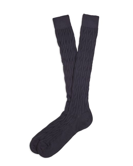 Brooks Brothers | Blue Cable Over-the-calf Socks for Men | Lyst