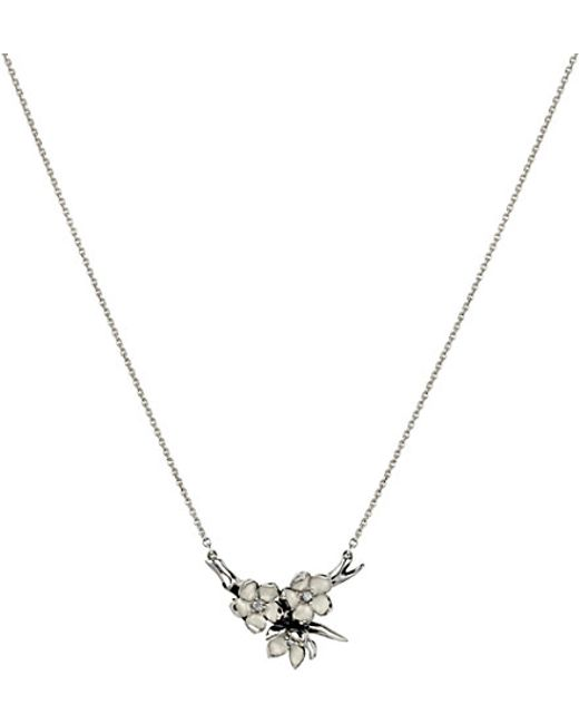 Shaun Leane | Metallic Cherry Blossom Silver, Ivory Enamel And Diamond Branch Pendant Necklace Small | Lyst