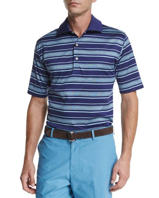 Macho Clothing Co: Peter Millar Macho-stripe Short-sleeve Polo Shirt In Blue