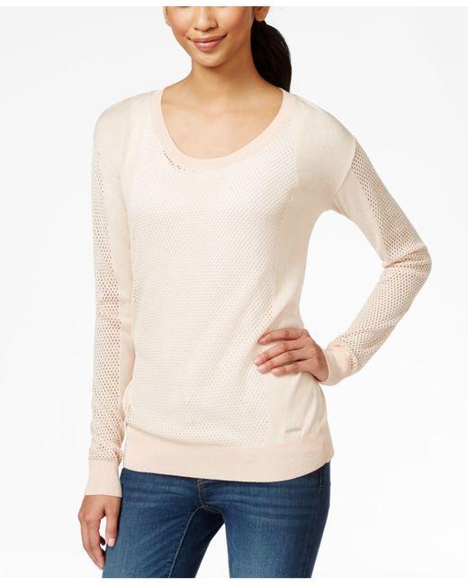 calvin klein jeans crew neck mesh sweater in beige. Black Bedroom Furniture Sets. Home Design Ideas
