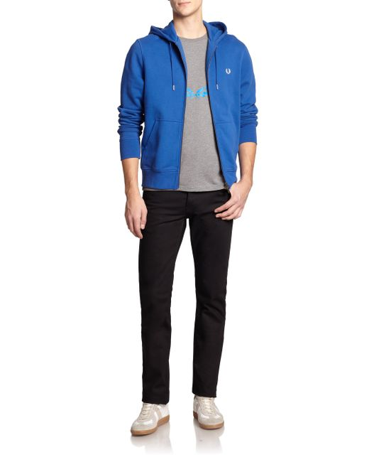 fred perry cotton hoodie in blue lyst. Black Bedroom Furniture Sets. Home Design Ideas