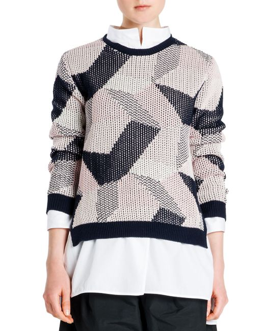 Jil Sander | Black Abstract Intarsia Knit Sweater | Lyst