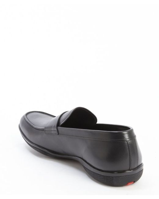 Prada | Sport Black Leather Penny Loafers for Men | Lyst