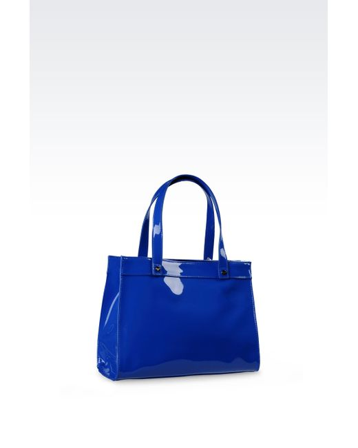 Armani Jeans | Blue Small Eco Patent Leather Shopping Bag With Charms | Lyst