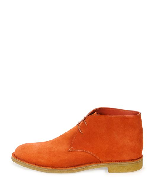 Bottega Veneta   Orange Suede Desert Boot for Men   Lyst