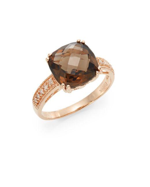 Effy | Brown Smoky Quartz, Diamond & 14k Rose Gold Ring | Lyst