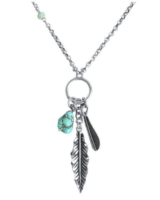 Lucky Brand | Metallic Necklace, Silver-tone Semi-precious Turquoise Feather Charm Necklace | Lyst