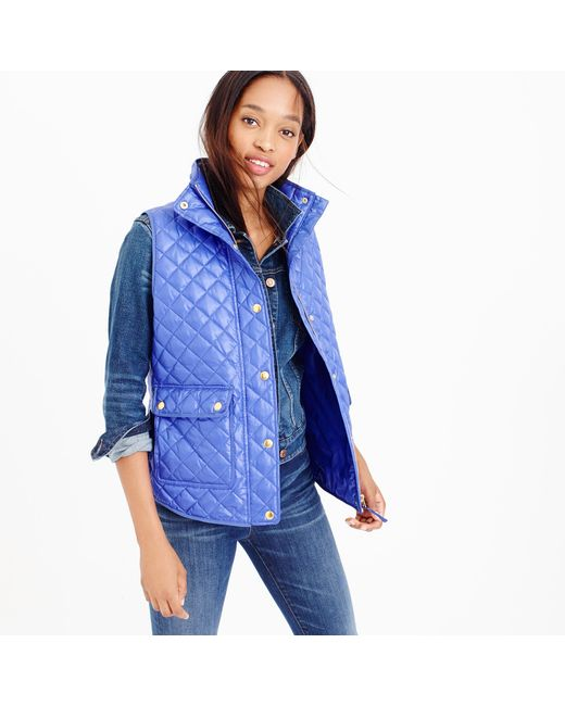 J.Crew | Blue Shiny Quilted Field Puffer Vest | Lyst