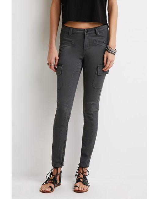 Forever 21 | Gray Zippered Cargo Pants | Lyst