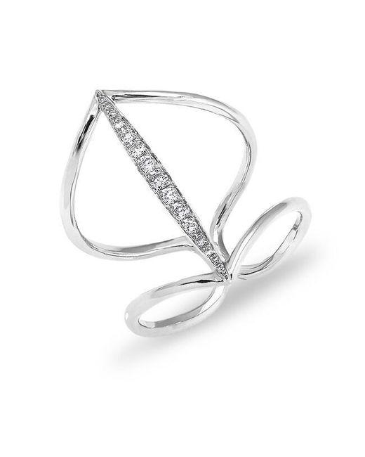 Anne Sisteron - Metallic 14kt White Gold Petal Diamond H Ring - Lyst