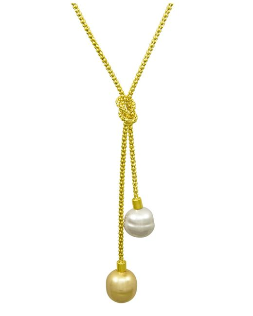 Majorica | Metallic Organic Man-made Baroque Pearl Love Knot Lariat | Lyst
