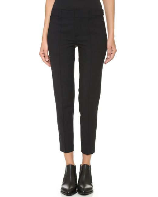 VINCE | Black Stretch Suede Zip Leggings | Lyst