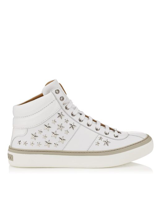 Jimmy Choo | Belgravia White Nappa Sneakers With Silver Stars for Men | Lyst