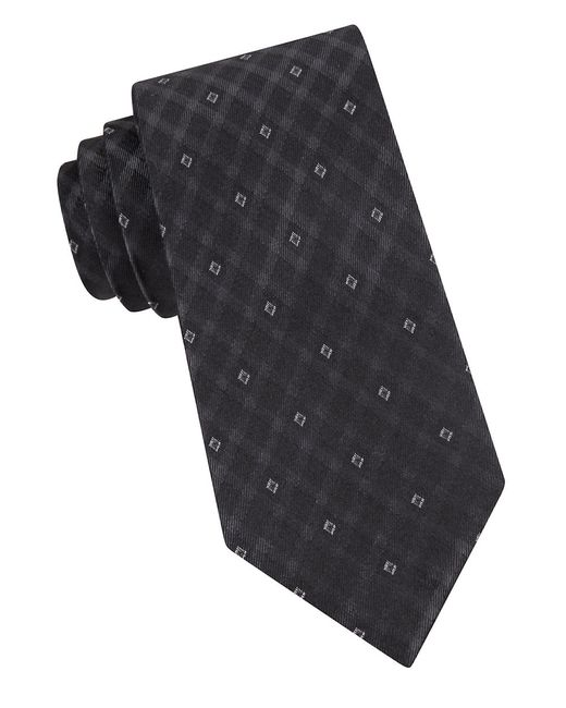 Calvin Klein | Black Gem Grid Silk Tie for Men | Lyst